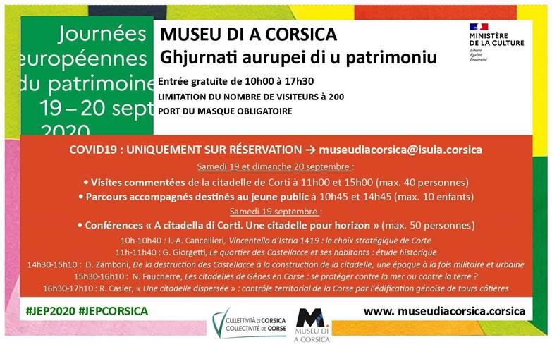 Le programme des JEP 2020 au musée de la Corse