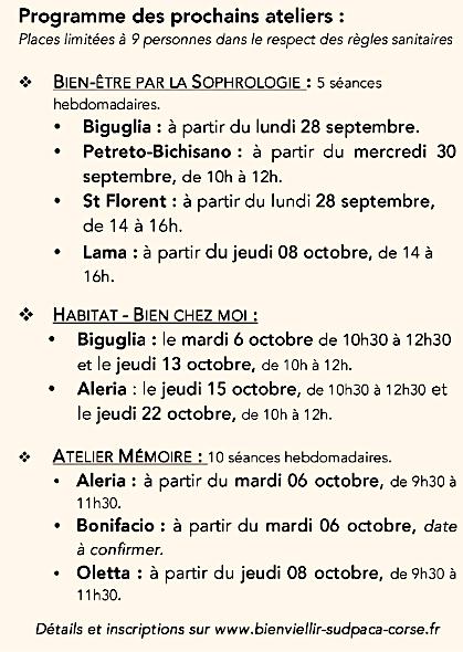 """Corse. Des ateliers gratuits """"Bien Vieillir » destinés aux + de 60 ans"""