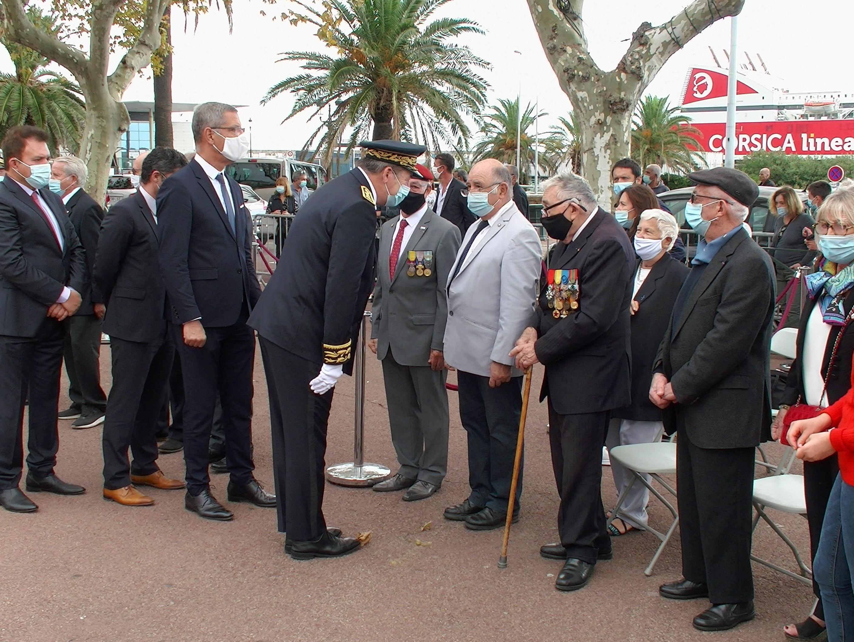 René Chiaramonti salué par le préfet et le maire de Bastia