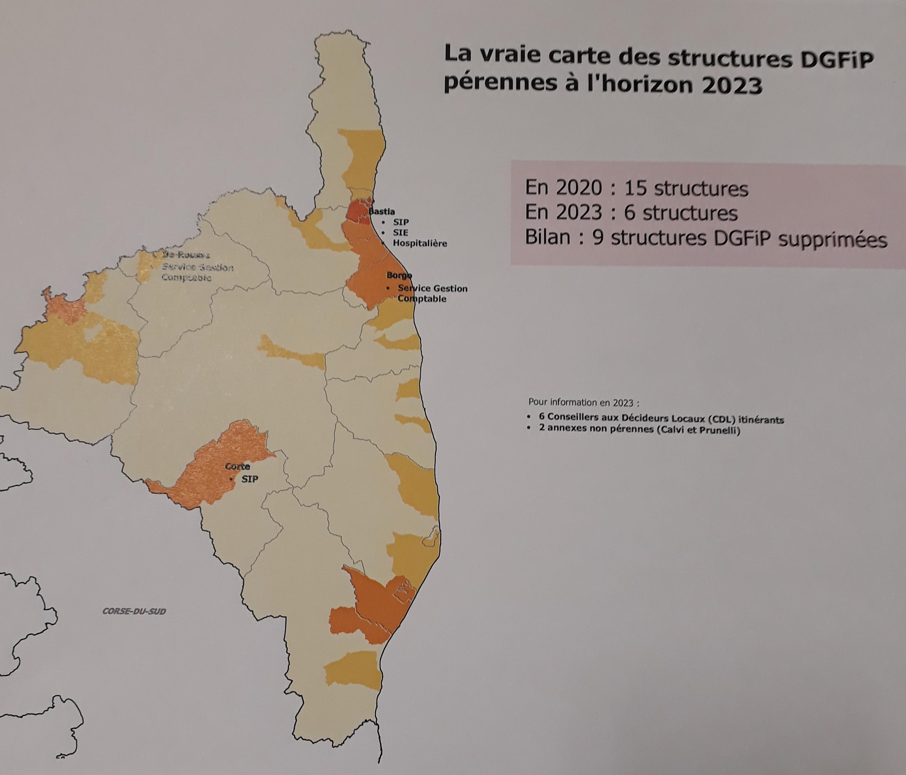 La carte brandie par l'Intersyndicale qui dénonce la destruction des  services publiques aux finances