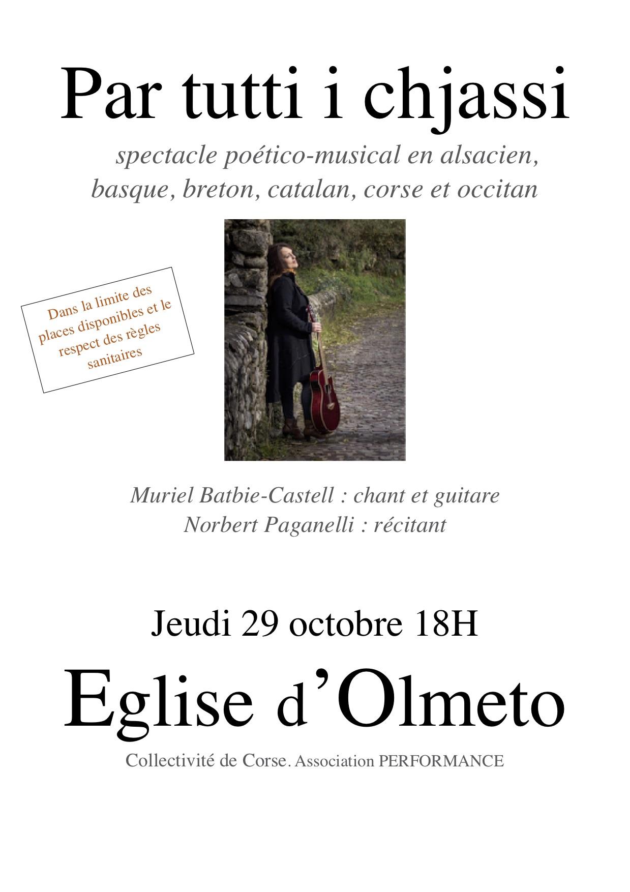 Par tutti i chjassi: la poésie des langues de France en concert à Olmeto