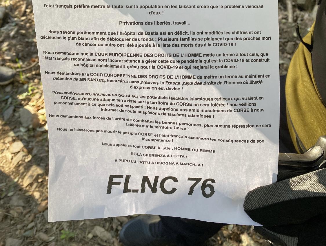"""Le FLNC 76 met en garde l'Etat français : """"on ne se contentera plus de simples apparitions"""""""