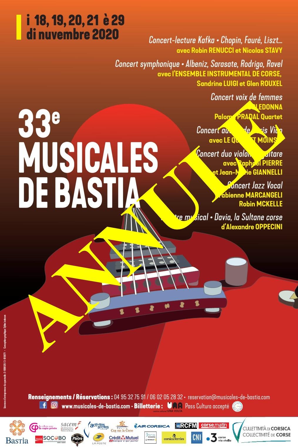 Les Musicales de Bastia annulées et reportées en 2021
