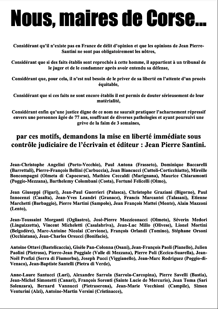 50 maires de Corse demandent la libération de Jean-Pierre Santini