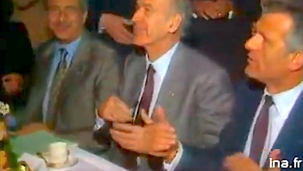 Valéry Giscard d'Estaing en 1981 à Bastia entre Emile Arrghi de Casanova et Jean Baggioni