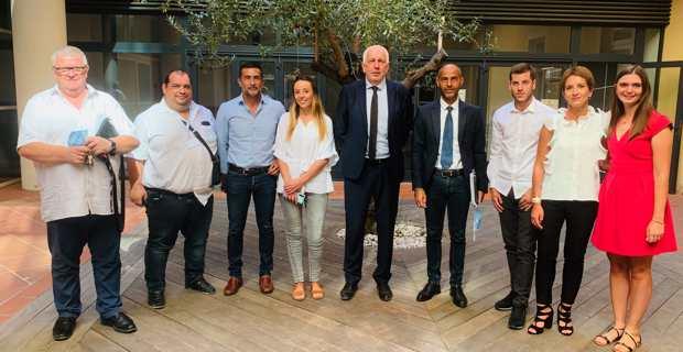 L'équipe de l'OEHC à la présentation d'Acqua Nostra à la session de l'Assemblée de Corse en juillet 2020 à Aiacciu. Photo OEHC.