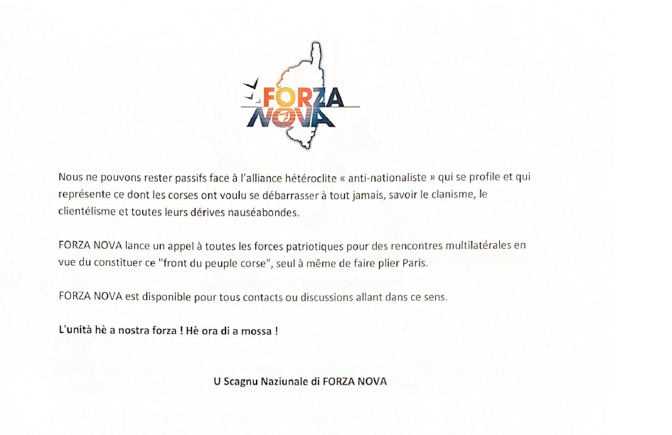 Territoriales : Forza Nova lance un appel à a mossa aux forces nationalistes