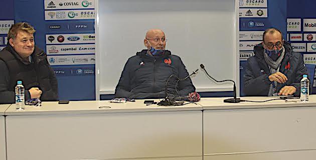 Didier Retière, DTN, Bernard Laporte, président de la FFR et Jean-Simon Savelli président de la ligue corse de Rugby.