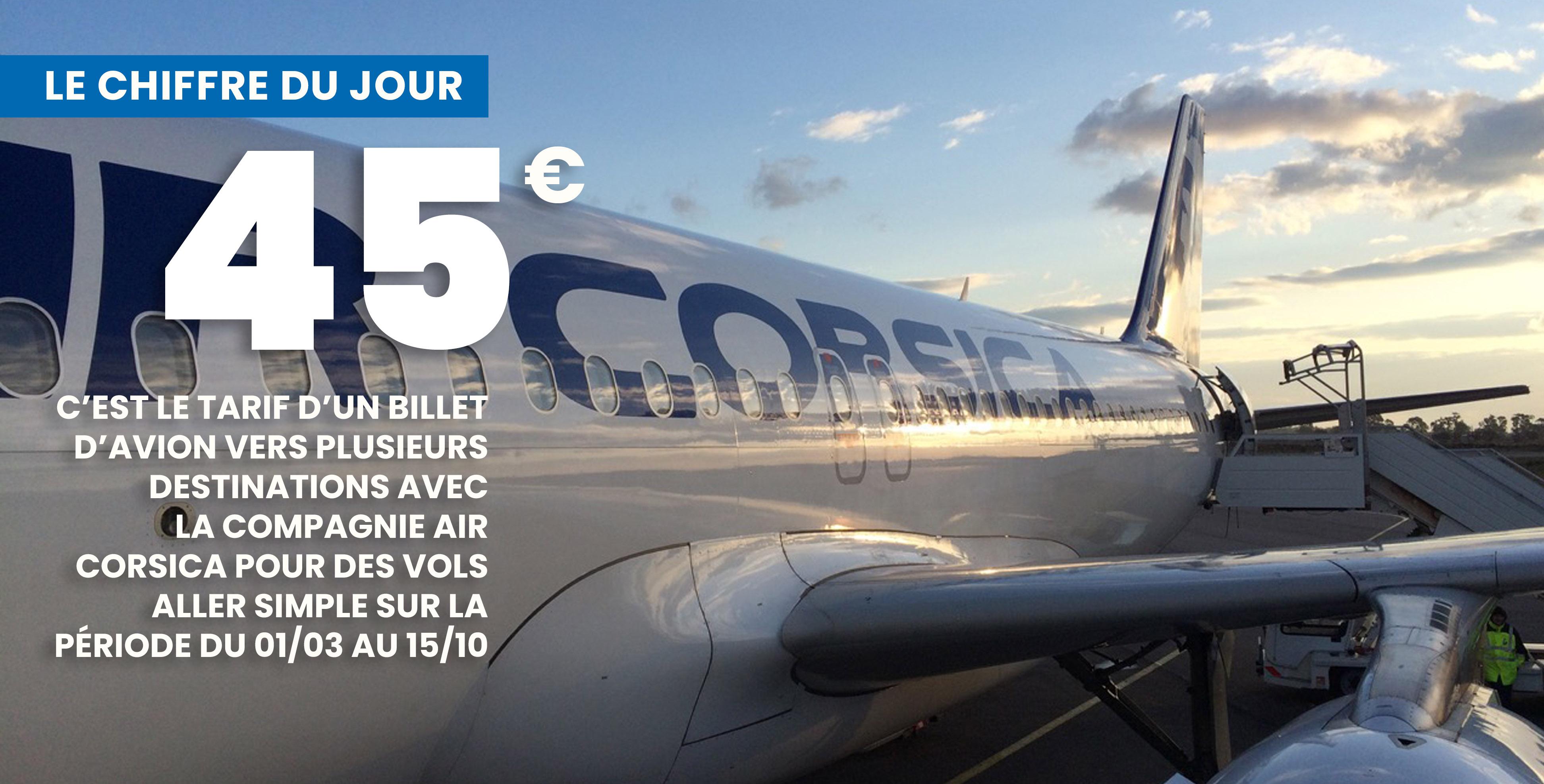 Des billets d'avion à 45 €, une offre commerciale d'Air Corsica