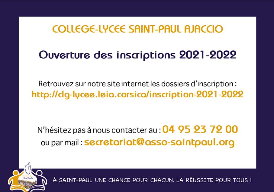 Les inscriptions au collège-lycée Saint Paul d'Ajaccio sont ouvertes