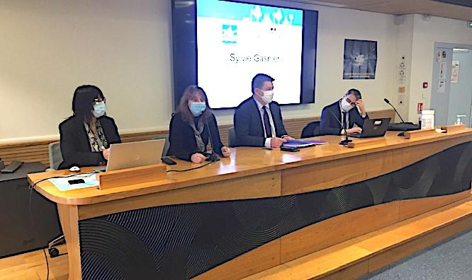 Les principaux intervenants de cette conférence : Association Adrien Lippini, IRA de Bastia, Préfet de la Haute-Corse et Procureur de la République.
