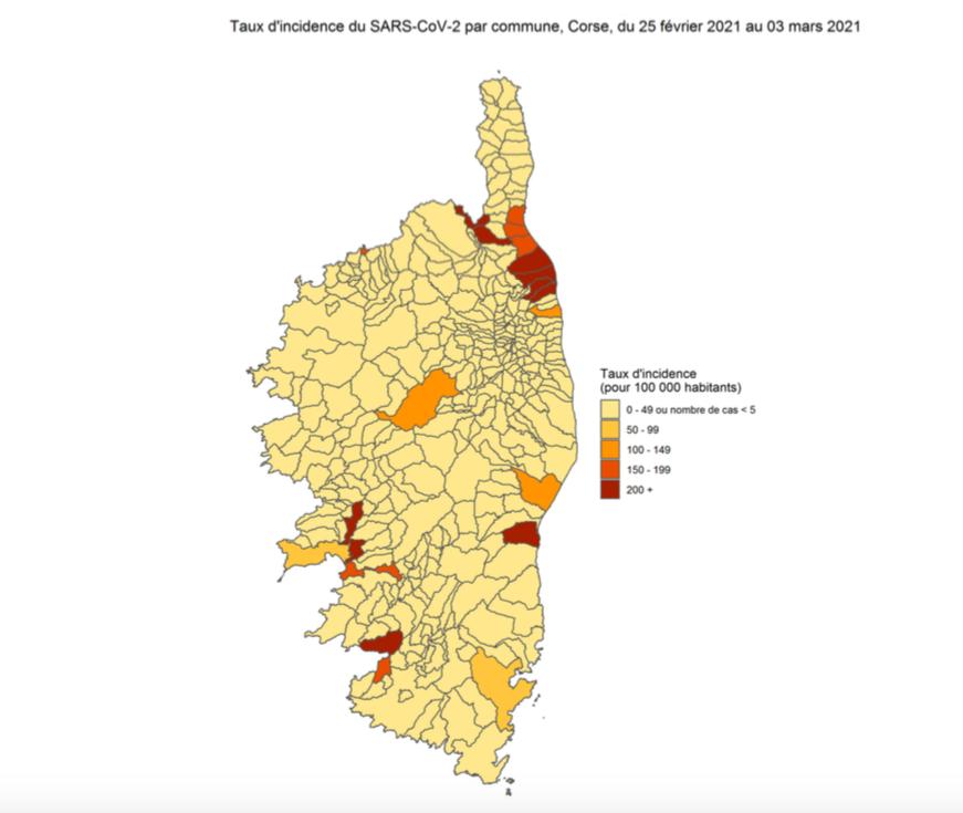Carte du taux d'incidence du variant anglais par commune en Corse. Source : ARS de Corse