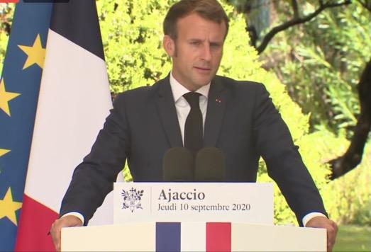 Le président de la République, Emmanuel Macron, à Ajaccio en septembre 2020.