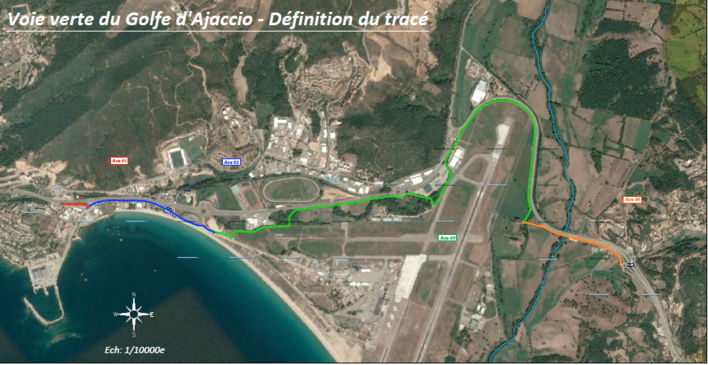 """Le tracé du projet retenu par l'appel à projet """"Aménagements Cyclables 2020"""". Source : Collectivité Territoriale de Corse"""
