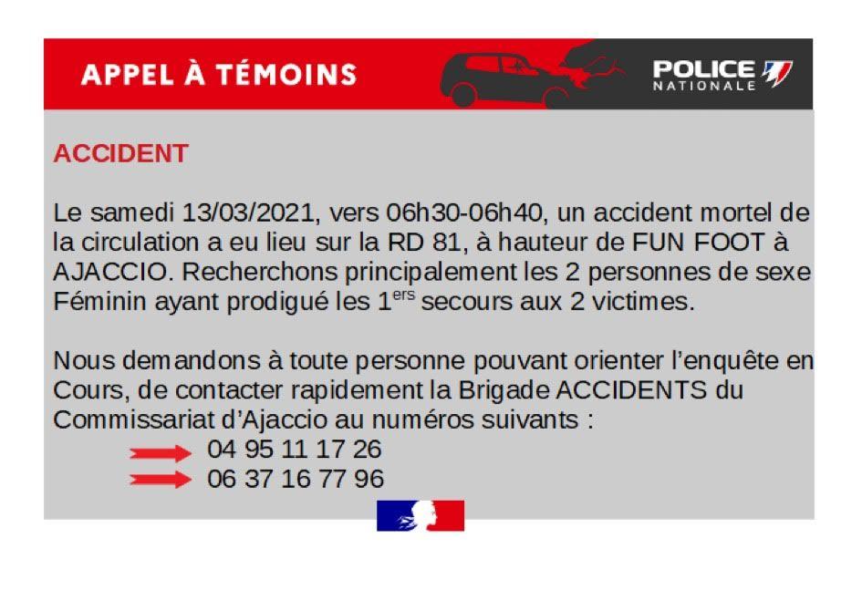 Ajaccio : appel à témoins après un accident mortel