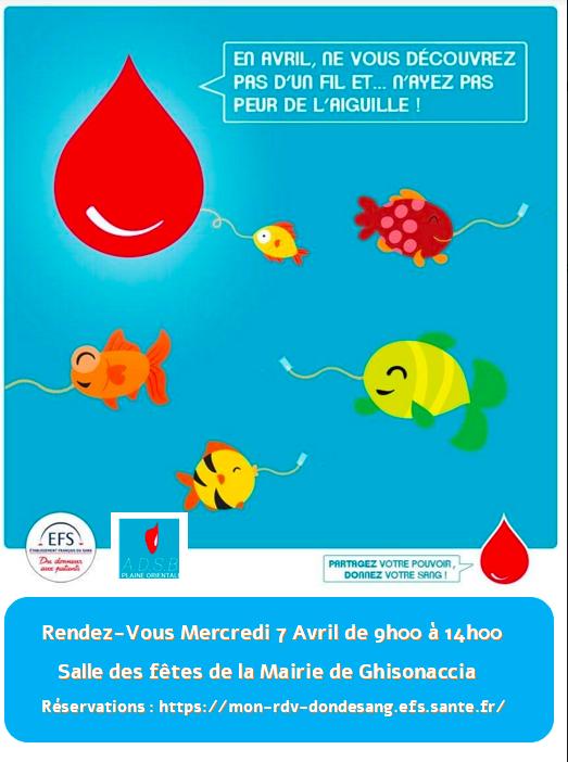 Ghisonaccia : Une collecte de sang ce Mercredi 7 avril