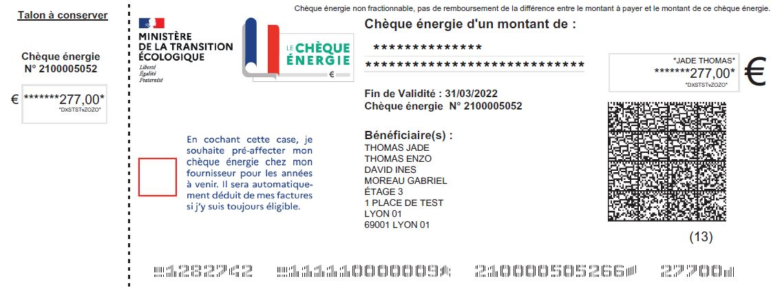 Un exemple de chèque énergie. Source : EDF