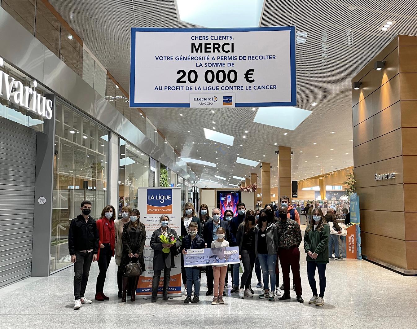 Etablissements E. Leclerc d'Ajaccio : 20 000 € au profit de la Ligue contre le cancer