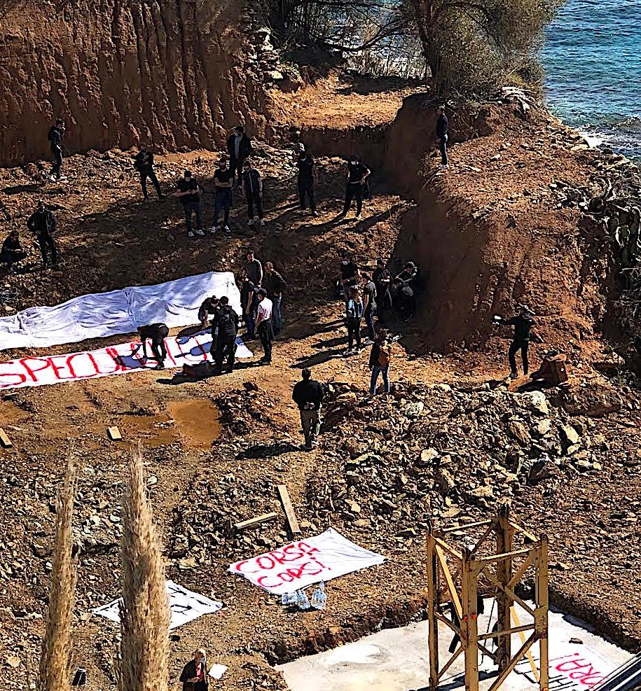 San Martino di Lota : le chantier de la résidence Petra Mare occupé par des manifestants