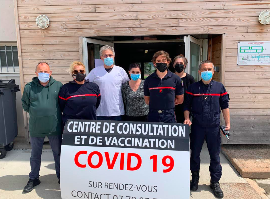 Covid 19 : Les pompiers du Groupement Sud impliqués dans le centre de vaccination de Porto-Vecchio