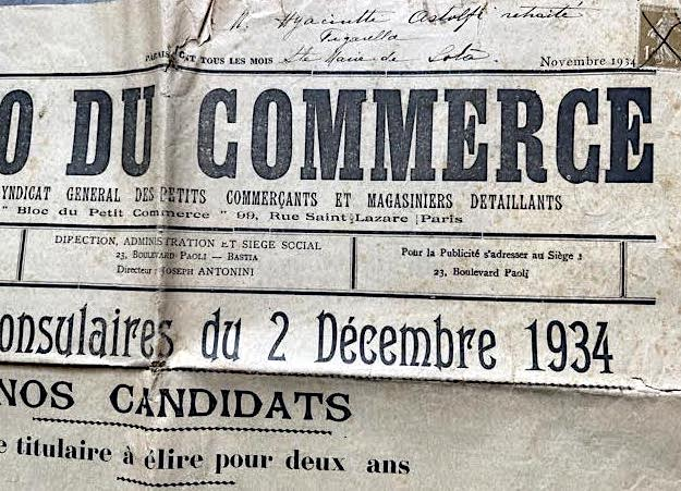 """Bastia : les élections consulaires du 2 décembre… 1934 vues par """"l'Echo du commerce"""""""