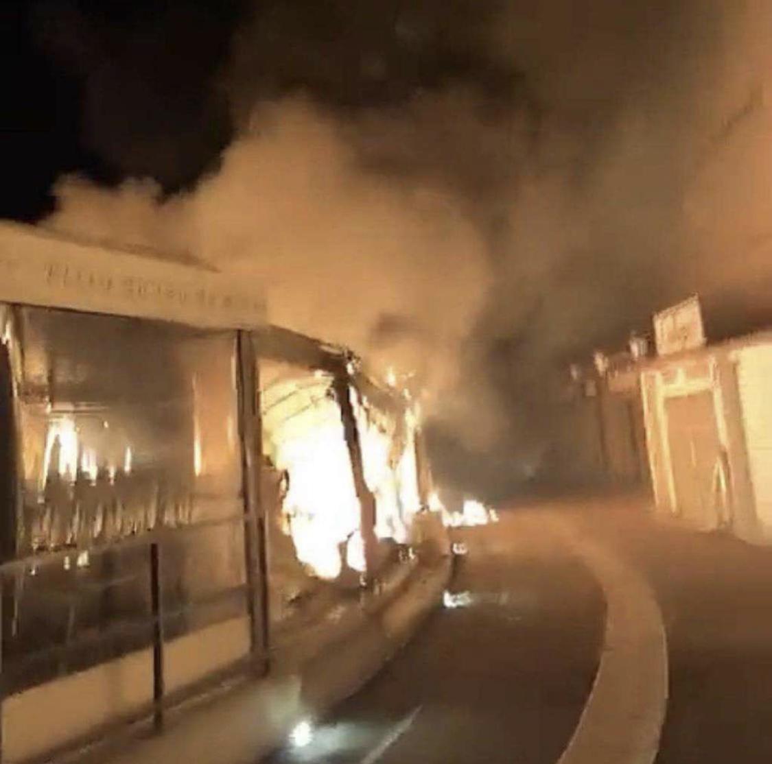Capture d'écran de l'incendie sur le port de Bonifacio