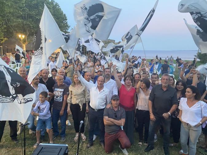 Core in Fronte et Paul-Félix Benedetti, dernier meeting à Bastia. Photo CNI.