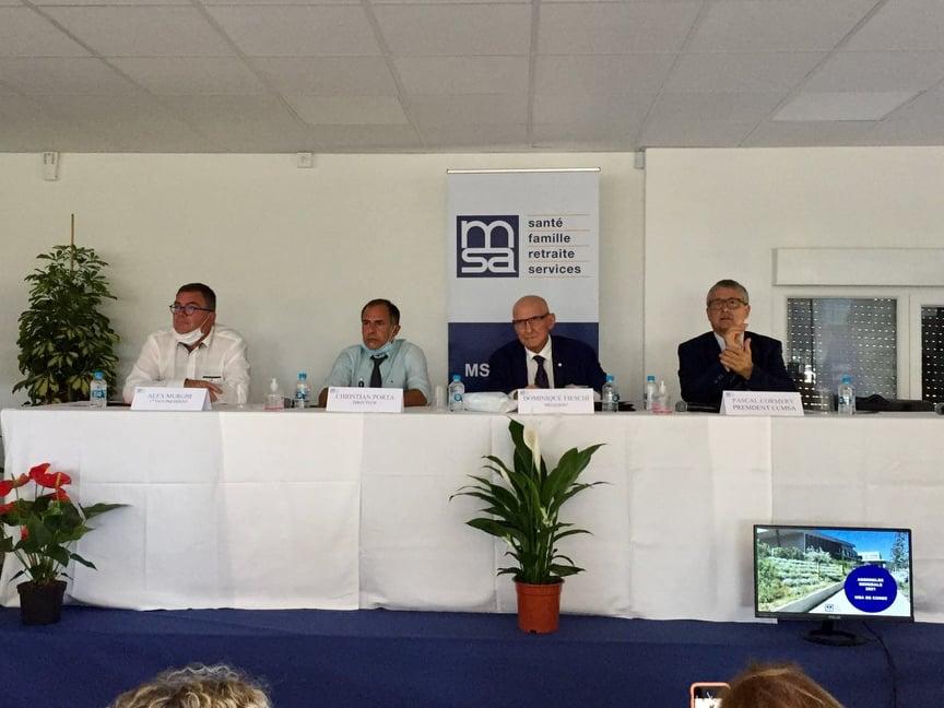 De gauche à droite : Alex Murghi, vice-président de la MSA de Corse, Christian Porta, son directeur, Dominique Fieschi, son président et Pascal Cormery, président de la caisse centrale de la MSA.