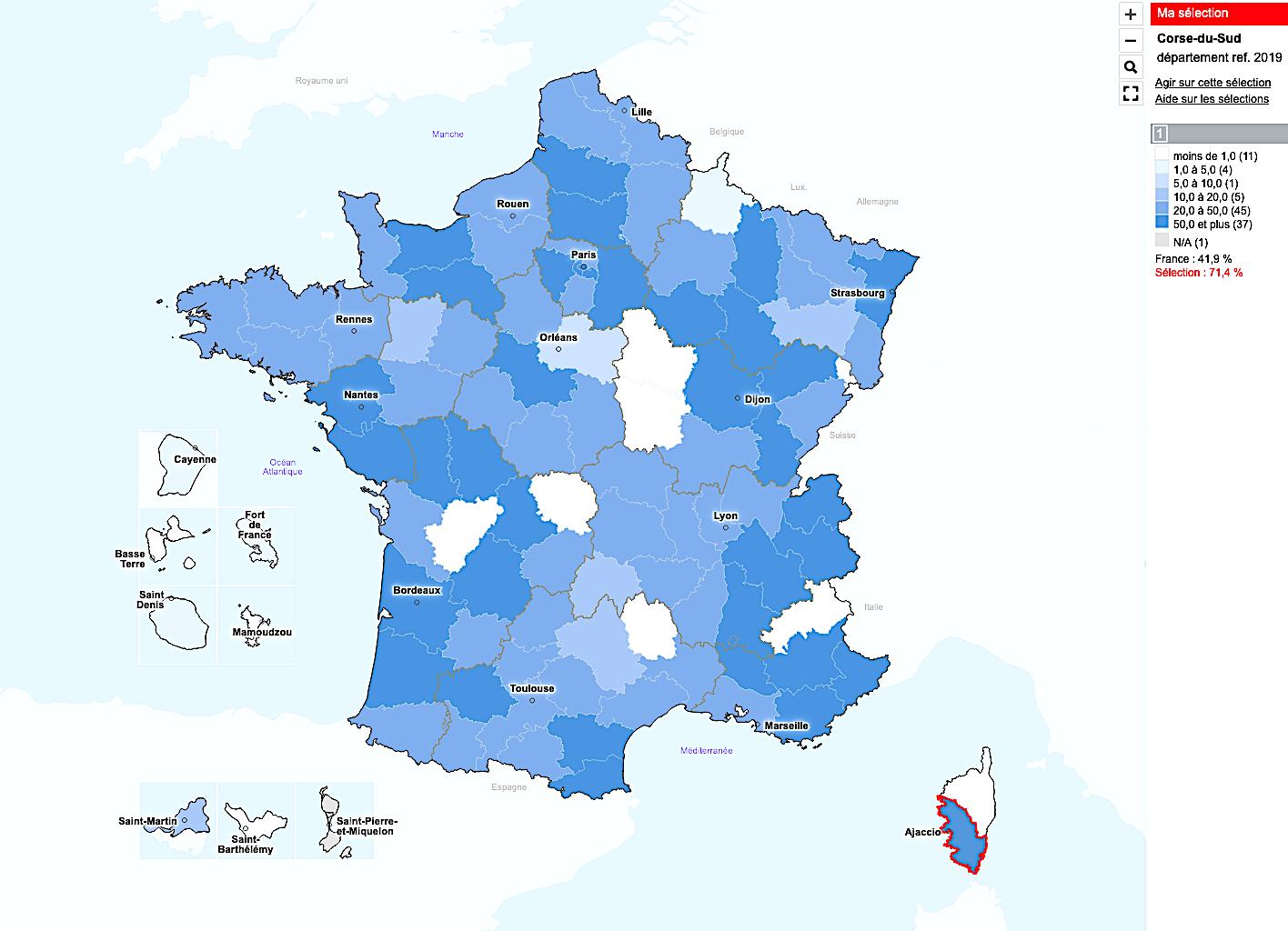 71,4% en Corse-du-Sud selon Santé Publique France
