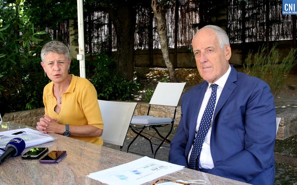 Le préfet de Corse Pascal Lelarge et la directrice de l'Agence Régionale de Santé de Corse Marie-Hélène Lecenne. Photo Michel Luccioni
