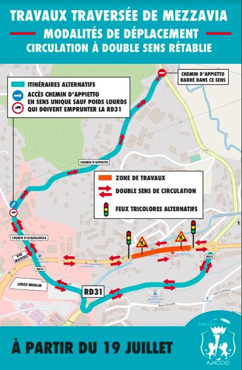 Traversée de Mezzavia : rétablissement de la circulation à double sens ce 19 juillet