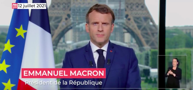 Screenshot du discours d'Emmanuel Macron du 12 juillet dernier