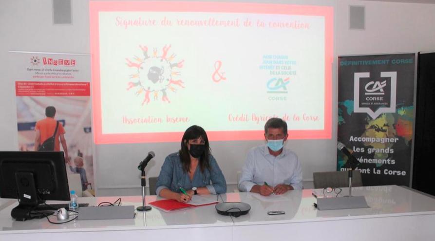 La Présidente d'Inseme Laetitia Cucchi et le Directeur Général du Crédit Agricole de la Corse Jean-Pierre Guillou