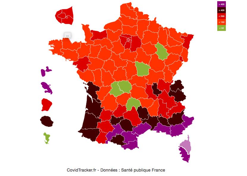 La carte de Covid Tracker qui indique le nombre de cas pour 100k habitants