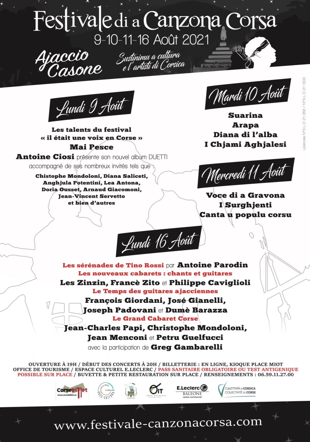 Ajaccio : une belle affiche pour la première édition du Festivale di a Canzona Corsa