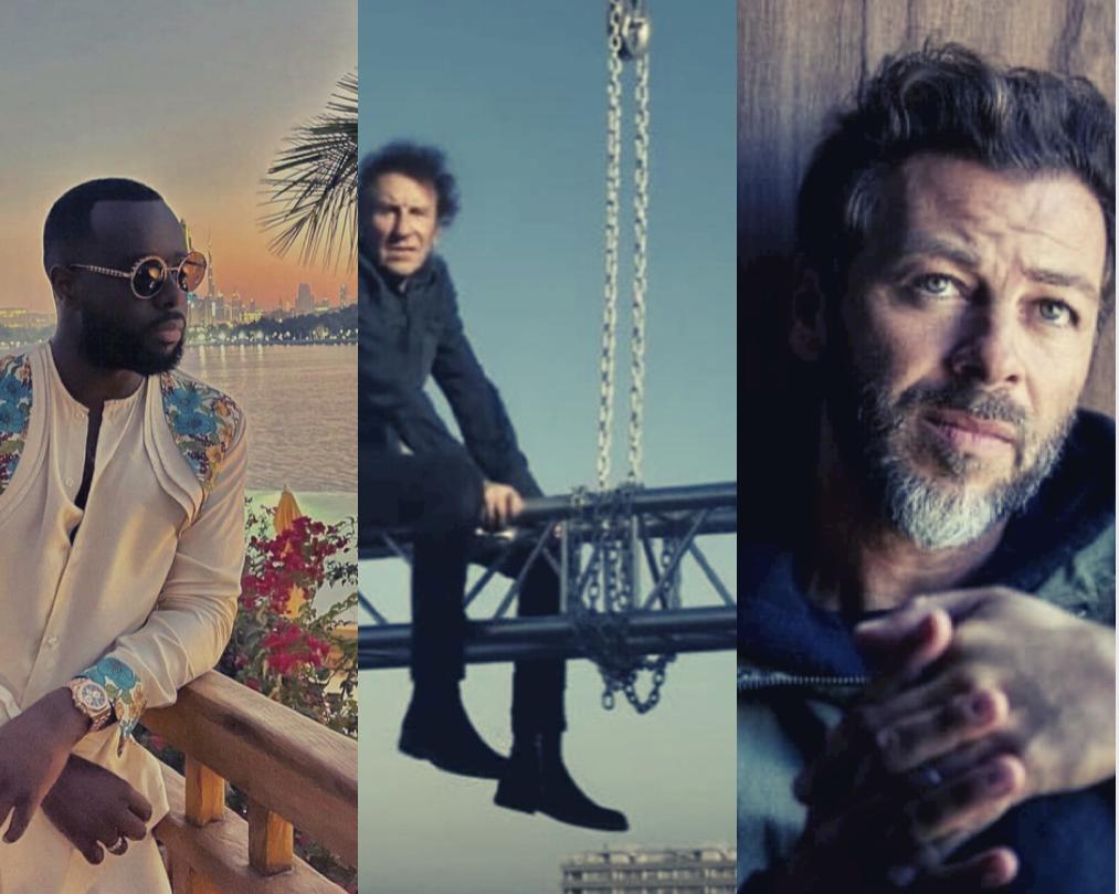 Les trois artistes invités : Gims, Alain Souchon, Christophe Maé