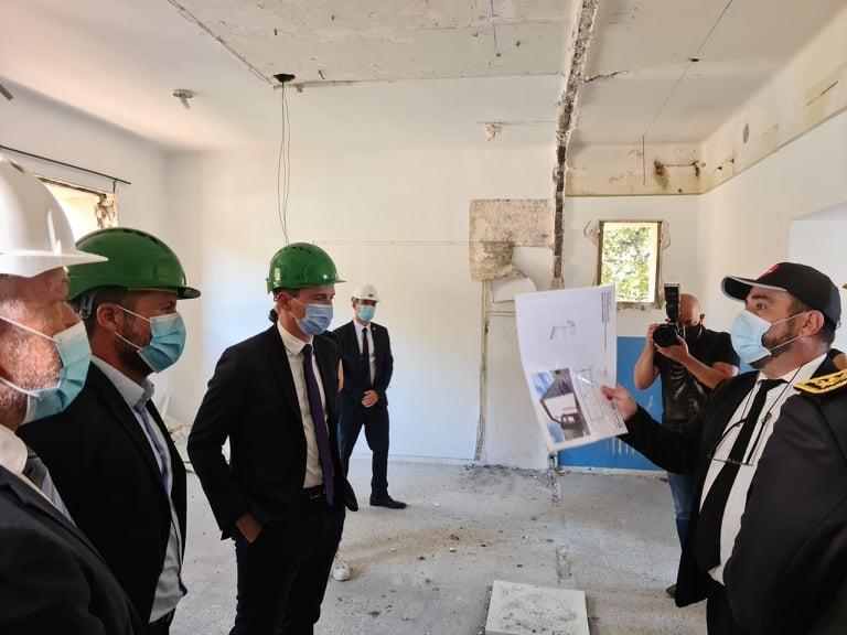 Visite de chantier pour le directeur du CROUS Marc-Paul Luciani et le ministre Olivier Dussopt. Crédits Photo : Pierre-Manuel Pescetti