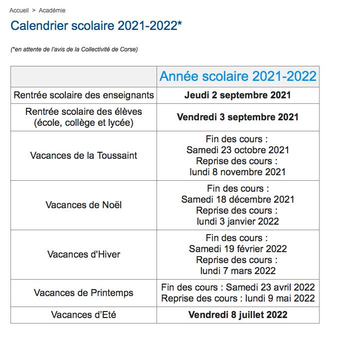 Vacances scolaires : découvrez le calendrier de l'année 2021-2022 en Corse