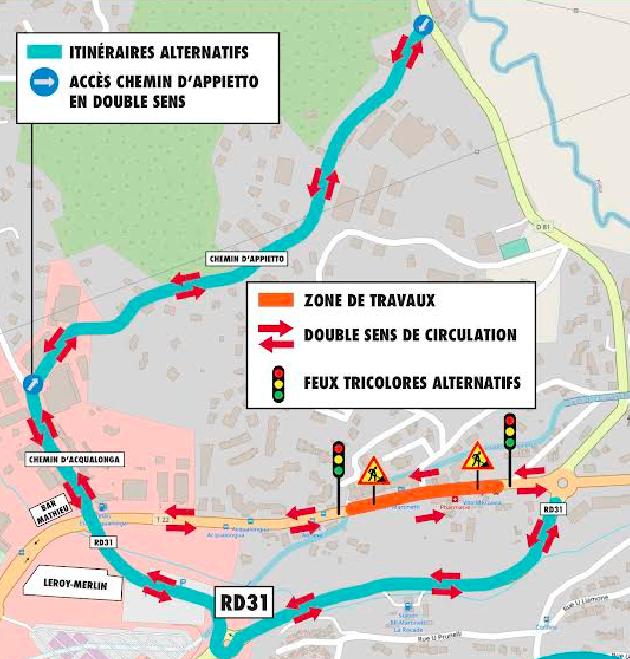 Traverse de Mezzavia : la circulation est rétablie à double sens sur le chemin d'Appietto