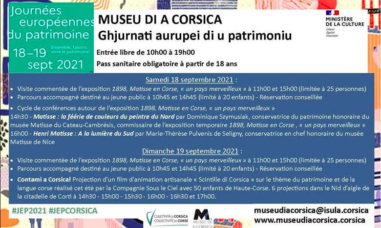 Le programme des Journées Européennes du Patrimoine au musée de la Corse
