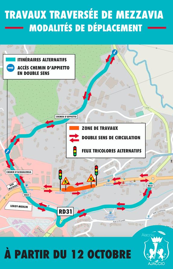 Ajaccio : de nouvelles conditions de circulation sur la traverse de Mezzavia