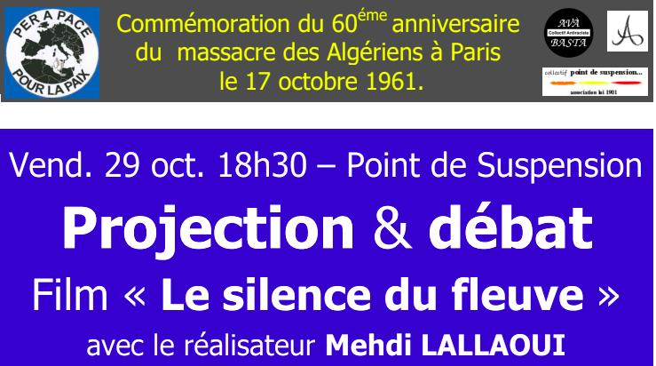 Commémoration de 60 ans du massacre des Algériens à Paris : Mehdi Lallaoui  à Ajaccio