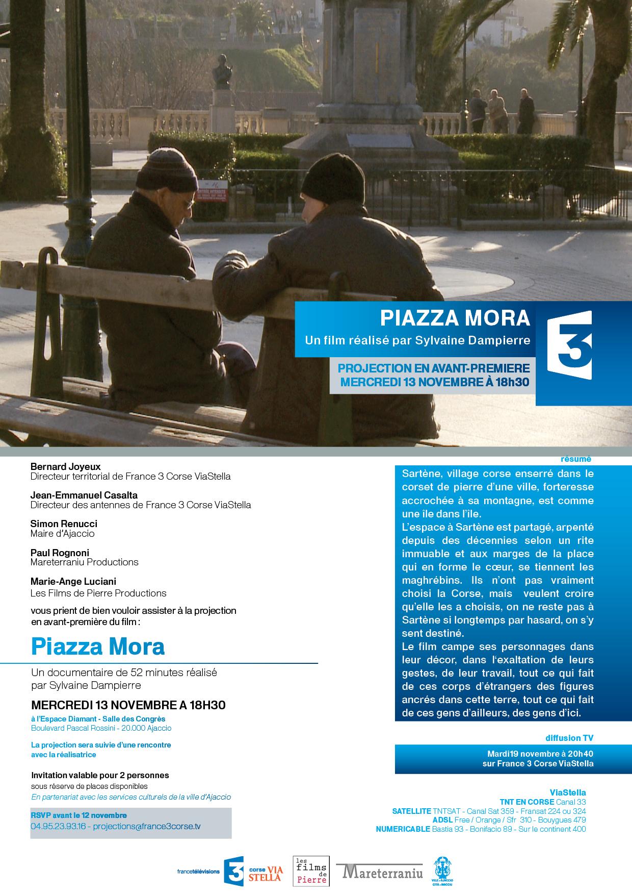 """""""Piazza Mora"""" un documentaire de Sylvaine Dampierre à l'Espace Diamant"""