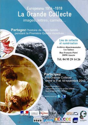 Collecte du Souvenir avec les archives départementales de Corse-du-Sud