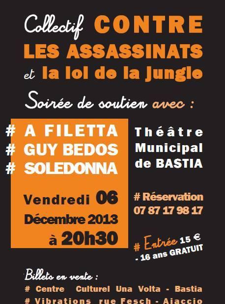"""Collectif contre les assassinats et la loi de la jungle"": Concert de soutien à Bastia"