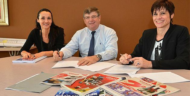 Signature de la convention de partenariat entre Séraphin Luciani, directeur général CODIM2 et Marie-Paule Dionisi Naudin, présidente de l'association.