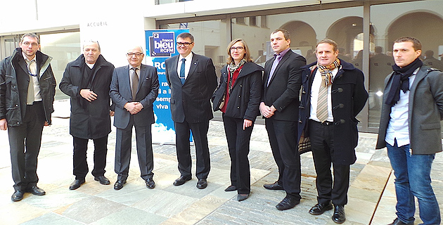 Autour de Ange Rovere, président de la SEM Bastia-Aménagement tous les partenaires de l'opération