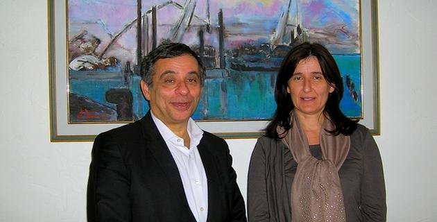 La présidente de la CCI de Corse-du-Sud Nathalie Carlotti et le Président du Comité Economique et Social Européen Henri Malosse, se sont entretenus jeudi matin à Ajaccio. (Photo : Yannis-Christophe Garcia)