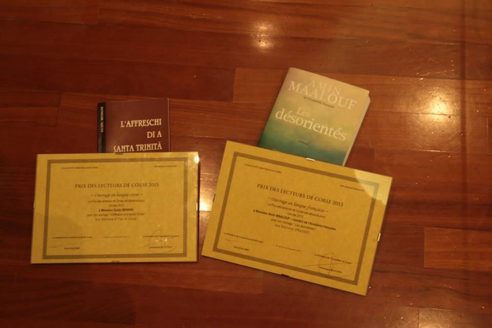 Amin Maalouf et Guidu Benigni ont reçu le Prix des lecteurs de Corse