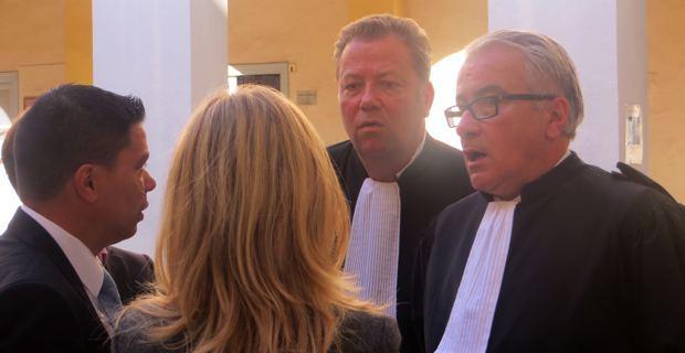 François Levan entouré de ses avocats, Me Olivier Morice du barreau de Paris et Me Christian Scolari du barreau de Nice.